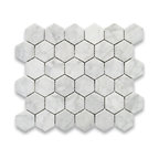 """Stone Center Corp - Carrara Marble Hexagon Mosaic Tile 2 inch Polished - Carrara white marble 2"""" (from point to point) hexagon pieces mounted on a sturdy mesh tile sheet"""