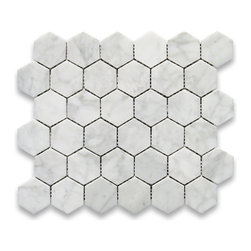"Stone Center Corp - Carrara Marble Hexagon Mosaic Tile 2 inch Polished - Carrara white marble 2"" (from point to point) hexagon pieces mounted on a sturdy mesh tile sheet"