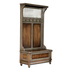 Uttermost - Riyo Hall Tree - 2556 - Uttermost 25561 - Honey stained, solid mango wood with hand painted, distressed charcoal gray accents, aged brass coat hooks and antiqued mirror. Seat lifts with safety hinge for storage.