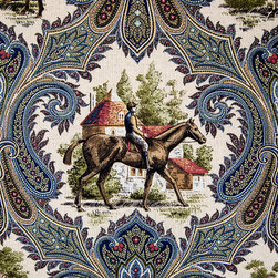 Horse Jockey Fabric Paisley Blue Toile, Standard Cut - A horse jockey toile fabric. A horse riding toile paisley fabric.