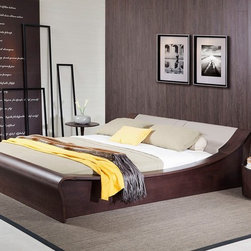 GENEVA CONTEMPORARY PLATFORM BED W/ LIGHTS - Contemporary platform bed with lights
