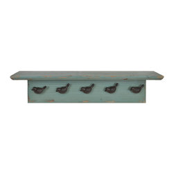 "Lightaccents - Distressed Rustic Solid Wood Vintage Wall Shelf with Hooks, Distressed Green - An attractive and functional wall-mounted distressed shabby chic shelf for the home. Great for adding a touch of elegance for the home entry. These shelves are built out of pine in an antique, distressed fashion. This means that they have knots, imperfections, nail holes of the wood left in them so that they have an old appearance, even with the plain color of paint. Great for that ""worn"" look. No assembly required. Mounting hardware included."