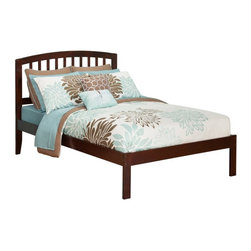 Atlantic Furniture - Urban Lifestyle Richmond Platform Bed - AR8821001 - Shop for Beds from Hayneedle.com! Enhance your bedroom decor with the simple yet stylish design of the Urban Lifestyle Richmond Platform Bed. Made of durable eco-friendly engineered wood this bed offers a versatile design with a slat headboard and a handsome profile. Simply choose your size finish and configuration to create a bed that blends perfectly with your lifestyle.About Atlantic FurnitureFounded in 1983 as Watercraft Inc. Atlantic Furniture started as a manufacturer of pine waterbed frames. Since then the Springfield Mass.-based company has expanded to Fontana Calif. The company has moved away from the use of pine and now specializes in imported furniture made of the wood of rubber trees.The Benefits of Eco-Friendly RubberwoodPrized as an environmentally friendly wood rubberwood makes use of trees that have been cut down at the end of their latex-producing life cycle. The trees are removed by hand and replaced with new seedlings. In the past felled rubber trees were either burned on the spot or used as fuel for locomotive engines brick firing or latex curing. Now the wood is used in the manufacture of high-end furniture. It is valued for its dense grain stability attractive color and acceptance of different finishes.Atlantic's Unique Five-Step Finishing ProcessEach product in the entire line is finished with a high-build five-step finishing process. After a thorough sanding a wipe-on sealer is applied followed by a tinted sealer to even the grain and color of the wood. Additional sanding prepares the surface for the first base color coat more sanding and a second base color coat. After a final sanding the finish coat is applied. This process produces a beautiful and durable finish that will last for years.