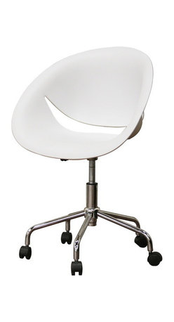 Baxton Studio - Baxton Studio Justina White Molded Plastic Modern Swivel Office Chair - The Justina Office Chair provides an office or home desk area a clean, contemporary look with an unmistakable dose of sass. Get in on a great new design it is a sturdy molded plastic seat in crisp white as well as 360 degree swivel and an adjustable-height feature make this a hot new interior design trend. The base is made of steel with a reflective chrome finish and is finished off with black plastic caster wheels. Some assembly is required.