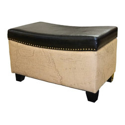 Armen Living - Armen Living Congo Ottoman - Brown - LC6029OTLEDB - Shop for Ottoman & Footstools from Hayneedle.com! Keep in the travel spirit without leaving your home with the Armen Living Congo Ottoman Brown. This ottoman lets you kick up your feet in well-traveled style with soft bonded leather upholstery and a detailed old world map graphic. Its top even lifts off to offer spacious storage for blankets pillows and other cozy necessities. Perfect for storage seating and lounging it complements you living space with a stylish functionality.About Armen LivingImagine furniture without limits - youthful robust refined exuding self-expression at every angle. These are the tenets Armen Living's designers abide by when creating their modern furniture collections. Building on more than 30 years of industry experience Armen Living combines functional versatility and expert craftsmanship into their dramatic furniture styles all offered at price points fit for discriminating budgets. Product categories include bar stools club chairs dining tables ottomans sofas and more. Armen Living is based in Sun Valley Calif.