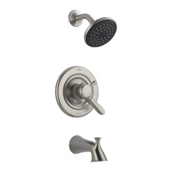 Delta - Lahara Monitor 17 Series Tub and Shower Trim - Delta T17438-SS Lahara Monitor 17 Series Tub and Shower Trim with Single Function Showerhead and Tub Spout in Stainless.