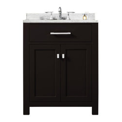 "Water Creation Inc. - Madison 24E 24"" Espresso Single Sink Bathroom Vanity From The Madison Collection - Water Creation's collection of premier single sink bathroom vanities will add a level of sophistication and class to any bathroom's decor. The crossroads of timeless design and innovative modern manufacturing processes merge harmoniously to ensure each vanity's finishes and function are as reliable as their unmistakable beauty. Constructed of 100% hardwood and not particle board, Water Creation prides itself on creating high-class vanities that are designed to last a lifetime. The marble countertop, ceramic sink, and elegantly crafted doors all lend credence to the durability and superior craftsmanship that Water Creation is known for. With the understanding that no one space is alike, all of Water Creation's vanity designs come in multiple lengths to accommodate any room size."