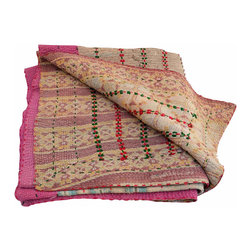 Kantha Quilt Pink - Hand stitched from scraps of vintage saris, this kantha quilt is unbelievably soft and truly one-of-a-kind. The combination of patterns and colors is a hallmark of these traditional Indian quilts and they provide a fun compliment to any neutral space.