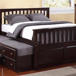 None - Full-size 3-drawer,Twin Trundle Captain Bed - This transitional youth bed spotlights an espresso finish that reflects simple elegance,perfectly suited for any room environment. This bed also features a solid wood construction,oversized drawers,and shaped drawer knobs.