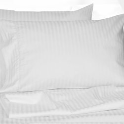 None - Egyptian Cotton Deep Pocket 300 Thread Count Dobby Hotel Stripe Sheet Set - Woven with 300 thread count Egyptian cotton,these dobby weave sheets are embellished with hemstitch detail and feature stylish dobby hotel stripe pattern. Set includes an oversized flat and 22-inch deep pocket fitted sheet.