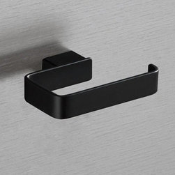 Gedy - Square Matte Black Toilet Roll Holder - Decorative toilet roll holder made of brass in a matte black finish. Toilet roll holder made of brass. Brass available in matte black finish. From the Gedy Lounge collection.