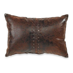 Croscill - Croscill Plateau Boudoir Pillow - The warmth and beauty of a rustic cabin is portrayed though this beautiful boudoir pillow. The faux leather pillow with a distressed brown finish has metal stud accents and is the perfect complement to the Plateau bedding.