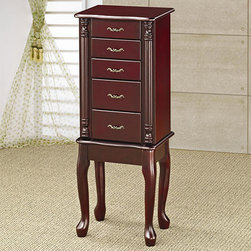 Traditional Queen Anne Style Jewelry Armoire in Cherry Finish -