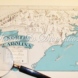 Beach Decor, North Carolina Vintage Map by Stories & Divinations - One of my favorite gifts to give friends that are moving to another state or country is maps. I feel like I'm welcoming them into a new adventure.