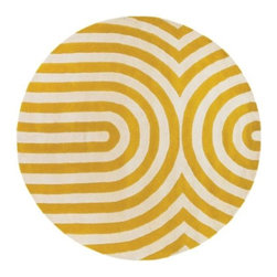 Thomas Paul - Geometric Maize/Cream Tufted Pile Rug by Thomas Paul - If pebbles were dropped into a still pond, its surface shimmering gold with the light of the afternoon sun, the ripple effect would look much like the Thomas Paul Geometric Maize/Cream Tufted Pile Rug. The precise pattern of alternating yellow and cream stripes are hand-tufted out of durable and plush New Zealand wool. Chandra area rugs have rapidly become known for tradition, heritage and quality of the handmade Indian rug. Designers Thomas Paul, Amy Butler, and Mary Agan have created a unique collection of area rugs that has become one of the most eclectic, quality lines in the industry.