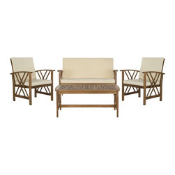 Safavieh - Safavieh Fontana Teak Finish Beige Acacia Wood 4-piece Outdoor Furniture Set - A distinctive double-X motif adorns the sides of the Fontana 4-piece outdoor living set for a luxe transitional look.
