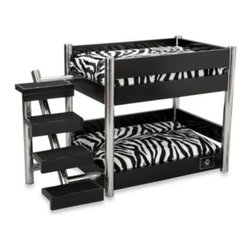 Lazybonezz - LAZYBONEZZ The Metropolitan Pet Bunk Beds - The chic Metropolitan bunk pet beds are perfect for single or multiple pet households. Their sturdy, space-saving design includes four steps, stainless steel accents, a coated bottom to prevent scuffing, and plush, comfy cushions.
