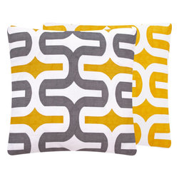 """Chloe and Olive - Chloe & Olive Geometric Throw Pillow, 18x18"""", Yellow/Gray 18x18"""" - Pick a side! Have some fun with this reversible throw pillow collection to suit your mood."""