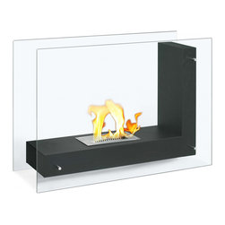 """Ignis - Vitrum L Black Freestanding Ventless Ethanol Fireplace - The Vitrim L Black Freestanding Ventless Ethanol Fireplace beckons you to come on over, sit down, relax, and warm yourself. It has a fashion-forward modern look that is streamlined and sleek. This unique model allows you to easily see the flame inside from almost any spot in your room, which adds to the open flame ambiance that is so inviting and comforting. Whether you install it in your living room, bedroom, or family room, you'll be mesmerized by the motion of the ethanol flame through its glass sides. It has a 1.5-liter ethanol burner that burns for around five hours and puts out 6,000 BTUs of deliciously warm heat. Dimensions: 31.5"""" x 23.75"""" x 12.5"""". Features: Ventless - no chimney, no gas or electric lines required. Easy or no maintenance required. Freestanding - can be placed anywhere in your home (indoors & outdoors). Capacity: 1.5 Liter Burner. Approximate burn time - 5 hours per refill. Approximate BTU output - 6000."""