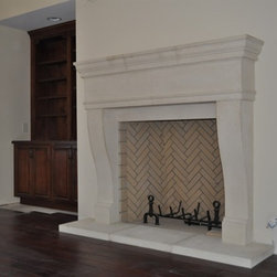 CAST STONE FIREPLACE MANTELS - Incredible handmade cast limestone mantel surround. This magnificent cast stone fireplace surround and over mantle can be made to your custom dimensions and would be the focal point in your room. Contact us for your required dimensions.