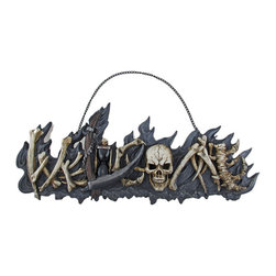 Gothic Skull  Bones Welcome Plaque Sign - Made of solid cold cast resin, this awesome three dimensional wall mounted welcome plaque is a great addition to front doors and foyers. It features the word `Welcome`, spelled out in a skull, bones and a reaper`s scythe. Measuring 7 inches tall, 18 inches wide, and 2 inches deep, he`ll make a great addition to any home. It has a metal chain link hanger, and hangs from a single nail or screw. This plaque also makes a great Halloween decoration.