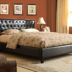 K and B Furniture Co Inc - Espresso Brown Tufted Upholstered Bed - Outfit your master suite or guest bedroom with this elegant upholstered bed. Featuring a high-back headboard deeply tufted of espresso-tone faux leather,this handsome bed will add sophisticated luxury to any bedroom.
