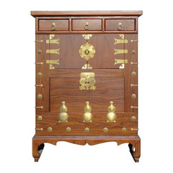 Golden Lotus - Chinese Brown Color Bronze Gourd Motif Wooden Cabinet - This unique cabinet is made of solid elm wood and comes with bronze hardware and gourd shape decoration.