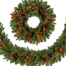 Countryside Christmas Garland - Welcome the holiday season with these charming Countryside Christmas decorations. Featuring a timeless design, the Countryside Christmas Wreath is a fitting addition to any traditional home. Its blend of Real-Feel™ PE needles and classic PVC needles create a lifelike wreath that flawlessly evokes the festive atmosphere of the holiday season.