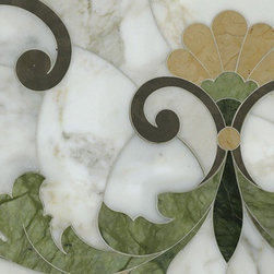 Beau Monde Stone, Rococo Loco - This pattern has a large repeat, and it reminds me of a quilt. You can send in a layout of your project with dimensions, and the company tells you the best way to incorporate the pattern. One day ...