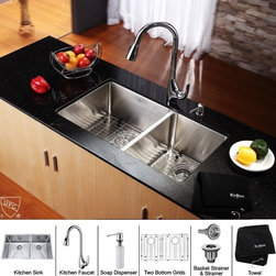 Kraus - 33 in. 60/40 Double Bowl Kitchen Sink and Faucet with Soap Dispenser - Add an elegant touch to your kitchen with unique Kraus kitchen combo