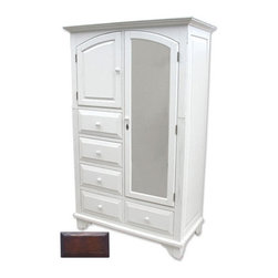 Tradewinds - Cottage Style Mirrored Armoire, Walnut - Complete the regal look of your bedroom by incorporating this wonderful cottage queen headboard to your bed. This cottage house furniture piece comes with multiple finish options to match with your current decor.