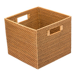 Kouboo - Square Rattan Utility Basket - This storage basket is characterized by its beauty and its usefulness. Store books, toys, papers or any other loose ends . The tight weave of the Rattan vines gives this basket a refined coastal look.