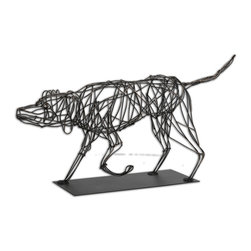 Uttermost - Hound Dog Sculpture - This dog has caught the scent and he's about to take off. Artist Matthew Williams has captured the essence of the hunting dog in this twisted-wire metal sculpture that's sure to delight you.