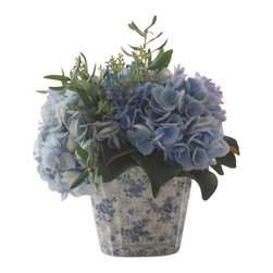 Winward Designs - Hydrangea/Olive Leaf In Ceramic Pot Flower Arrangement - Blue hydrangeas show off their blossoms with a healthy mix of olive branches nestled in a beautiful porcelain pot. You'd never guess this is a permanent display of springtime beauty, right? A one-time investment means you'll be enjoying these annual garden showstoppers all year long.