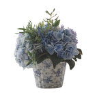 Hydrangea with Olive Leaf In Ceramic Container