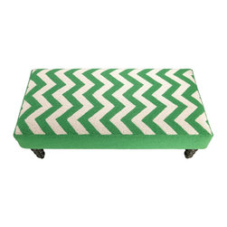 PHI - PHI Zig Zag Hook Bench-Green - Green Zig Zag Hook Bench by PHI. 100% Wool & Wood.