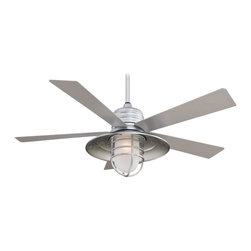 "Minka Aire - Minka Aire F582-GL Rainman Galvanized 54"" Outdoor Ceiling Fan + Wall Control - Features:"
