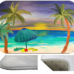 Beach Days Bath Mat, 30X20 - Bath mats from my original art and designs. Super soft plush fabric  skid backing. Eco friendly water base dyes that will not fade or alter the texture of the fabric. Washable 100 % polyester and mold resistant. Great for the bath room or anywhere in the home. At  1/2 inch thick our mats are softer and more plush than the typical comfort mats.Your toes will love you.