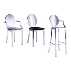 Emeco Kong Barstool - with Arms - I love Philippe Starck's contemporary take on the classic modern stool by Emeco. Also, it's made of 80% recycled aluminum, which will make you feel good.