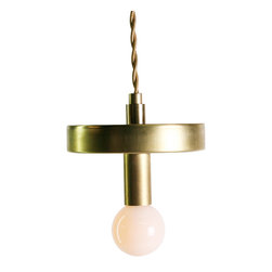 "DAMM - Myron, Gold Cord, 6"" - The Myron pendant is a floating disc that has a mirrored underside, reflecting it's own light and the room underneath it. Myron works singly or as a cluster, especially a large cluster of varying sizes."