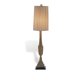 """Kathy Kuo Home - Pair Amsterdam French Country Pleated Shade Console Lamp- 38""""H - What a pair!  These two slim traditional wooden urn motif lamps, topped with pleated shades, create a classic look suitable for French Country, Gustavian and even Asian style rooms.  In the living room or the bedroom, this pair of elongated wooden urn style lamps deliver light and style effortlessly.  Price listed is for the pair."""