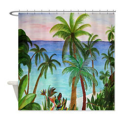 usa - Aqua Beach Shower Curtian - Beautiful shower curtains created from my original art work. Each curtain is made of a thick water resistant polyester fabric. The permanently applied art work appears on the front side with the inside being white. 12 button holes for easy hanging, machine washable and most importantly made in the USA. Shower rod and rings not included. Size is a standard 70''x70''