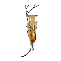 "Danya B - Amphora Vase Twig Sconce - Amber to Clear Color - Vase can be removed for cleaning. Made from recycled glass and iron. Color reported as closer to ""Clear"" than Amber. 9 in. L x 5 in. W x 22 in. H (2.1 lbs.)Great gift for Valentine's, Mother's Day or just to show your appreciation!"