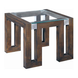 Allan Copley Designs - Calligraphy End Table - Features: -Meticulously crafted with great attention to detail.-1/2'' Thick, straight edge inset glass top.-Timeless design style for any room d cor.-Finish: Espresso on Kulin.-Brushed stainless steel accents.-Calligraphy collection.-Collection: Calligraphy.-Distressed: No.Dimensions: -Overall Product Weight: 84 lbs.Warranty: -1 Year warranty.