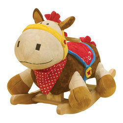Rockabye - Rockabye Colt Horse Rocker - Colt our uniquely designed western style horse is an updated version of the classic rocking horse. His colorful accessories are sure to delight your little cowboy or girl. He has a cool bandanna a cooler soft saddle and tactile fabrics like his soft mane and tail. Press the buttons on the back of his head to activate original songs that teach ABC 1-10 colors shapes and more. Enjoy watching your little one ride off into the imaginary sunset.