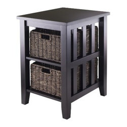 Winsome Wood - Morris Side Table with 2 Foldable Baskets - Our Morris Collection is perfect tables with plenty of storage. This Consol Table comes with two foldable baskets that are made from corn husk while the table is made from solid and composite wood.