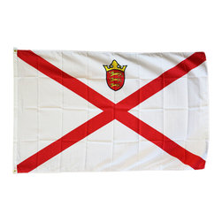 Flagline - Jersey - 3'X5' Polyester Flag - Our 3' x 5' Jersey flag includes vivid colors and an accurate design screen-printed on a durable 100% polyester material. The flag features a white fabric header with two brass grommets on the 3' side for easy display. The flag is best used indoors but can withstand occasional outdoor use. The authentic design is based on information from official sources. Jersey, officially the Bailiwick of Jersey, is a British Crown dependency just off the coast of Normandy,France. The bailiwick consists of the island of Jersey, along with surrounding uninhabited islands and rocks collectively named Les Dirouilles, Les  cr hous, Les Minquiers, Les Pierres de Lecq, and other reefs.