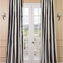Half Price Drapes - Presidio Faux Silk Taffeta Stripe Single Panel Curtain, 50 X 108 - - Defined by a unique sheen and fine weave, our Exclusive Poly Taffeta Curtains & Drapes are gorgeous and timeless. Our Taffeta drapes have a crisp smooth finish in striped patterns. The Poly Taffeta fabric provides you with a quality, cost saving alternative.   - Single Panel   - 3 Rod Pocket   - Corner Weighted Hem   - Pole Pocket with Back Tab & Hook Belt Attached. Can be hung using rings. (Not Included)   - Dry clean   - 100% Polyester   - Lined with a cotton blend material  - 50x108   - Imported   - Multi-Colored Half Price Drapes - PTSCH-11089-108