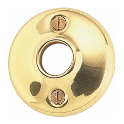 Renovators Supply - Door Knob Roses Bright Solid Brass Colonial Passage Doorknob Rose | 20151 - Passage Doorknob Roses: These Bright Solid Brass- 2 inch Cast Rose each have a 2 in. outer diameter and a 5/8 in. inner diameter and works with our dummy knob spindle (20152). Sold in pairs and includes four raised oval head 1 inch countersunk wood screws.