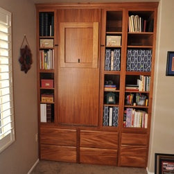 Custom Mahogony Office and Wallbed - This home office features a custom made Murphy Wall bed, Home Office, Entertainment Center, and Custom Sewing Center with Folding Center.  Custom designed and made by Lift and Stor Beds in Phoenix Arizona